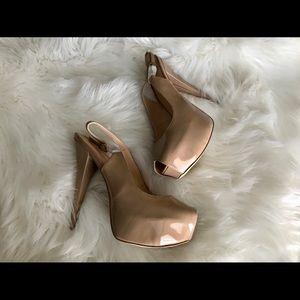 Shoedazzle Nude Platform Slingback Heels